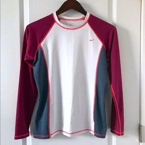 Nike Long Sleeve Shirt Color Block Size Medium